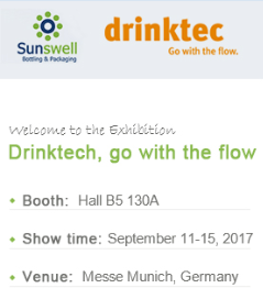 Meet Sunswell at Drinktech-Meet us at Hall B5,Stand 130A