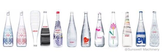 various bottles for filling mineral water